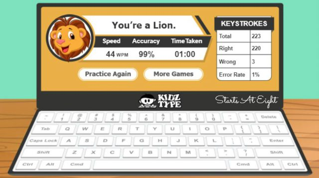 KidzType Typing Games make learning touch typing fun! This is a free site that uses a step by step process, fun cartoons, and games to help kids learn to type.