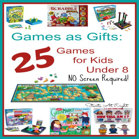 Games as Gifts: 25 Games for Kids Under 8 (NO Screens Required!) from Starts At Eight - birthdays, Easter baskets, Christmas and more! Games always make great gifts for kids. Get them off the screens and engaged in a fun game with friends and family!
