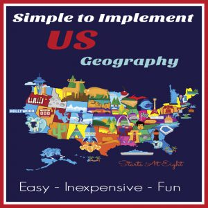 Simple to Implement US Geography from Starts At Eight. Geography doesn't have to be complicated or boring. Here are some tips to make it Simple to Implement US Geography in your homeschool. Using just a few resources you can make it fun and easy to learn US Geography.