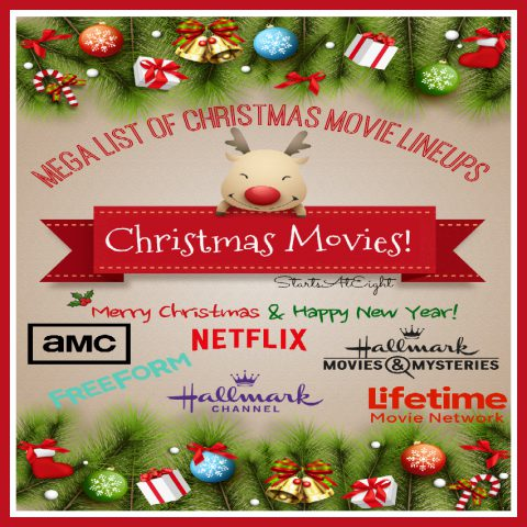 Christmas Movie Lineups from Starts At Eight. Here is a collection of Christmas Movie Lineups from all your favorite major network channels such as Hallmark, Netflix, AMC, Lifetime, Amazon Prime and more! View schedules, previews, summaries and more!