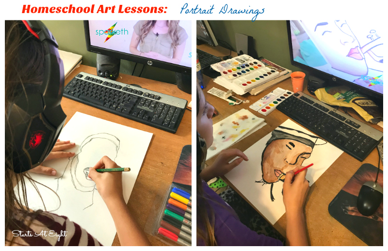 Homeschool Art Lessons: Portrait Drawings. Sparketh offers a variety of art courses including both technique and project courses as well as themed tracks. A Sparketh Review from Starts At Eight