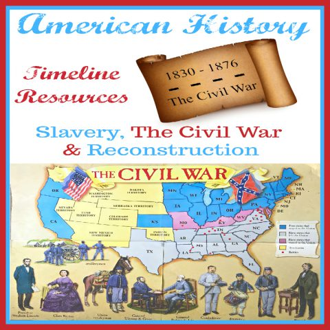 American History Timeline Resources: Slavery, The Civil War & Reconstruction includes resources, books, videos, and projects for studying this time period in American History. Travel the Underground Railroad, Map the battles of The Civil War, meet Abraham Lincoln and more.