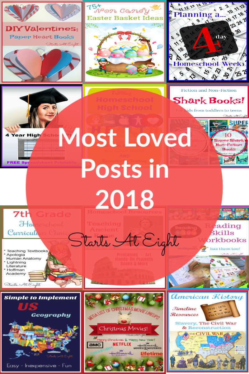 Most Loved Posts in 2018 from Starts At Eight is a collection of the most visited posts throughout the year. I have broken it down by most popular post each month as well as the most popular over the entire year! Everything from DIY Valentine's to a Christmas movie list, help with homeschooling high school and more!