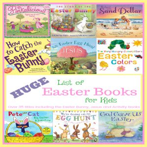 aster Books for Kids is a HUGE list of books for Easter, including funny bunny, Easter Bunny, activity books, and Jesus. Go on an Easter egg hunt, join your favorite characters to celebrate, and hear stories of how Jesus was resurrected.
