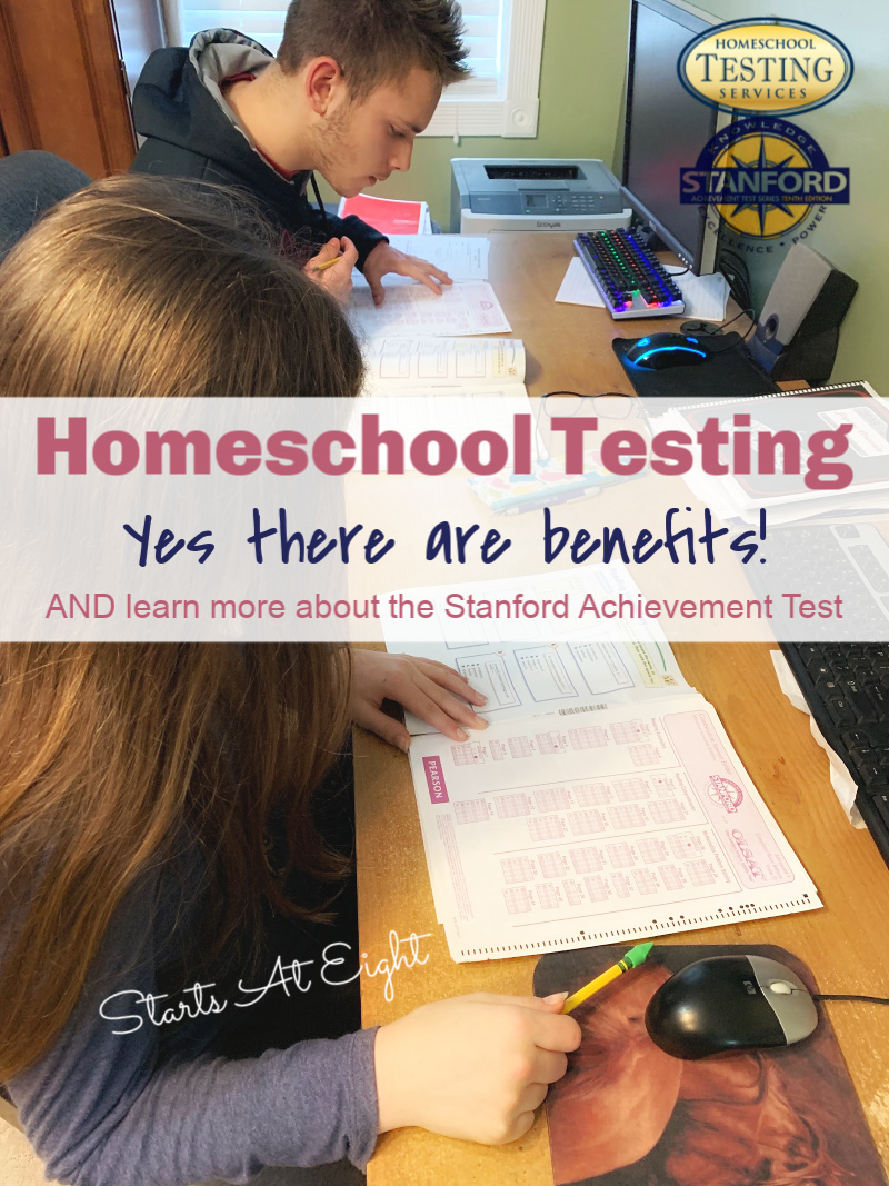 Homeschool Testing with the Stanford Achievement Test. There are many benefits to homeschool testing and in some states it is required. Luckily it does not have to be a stressful process with AT-Home testing. A Review from Starts At Eight.