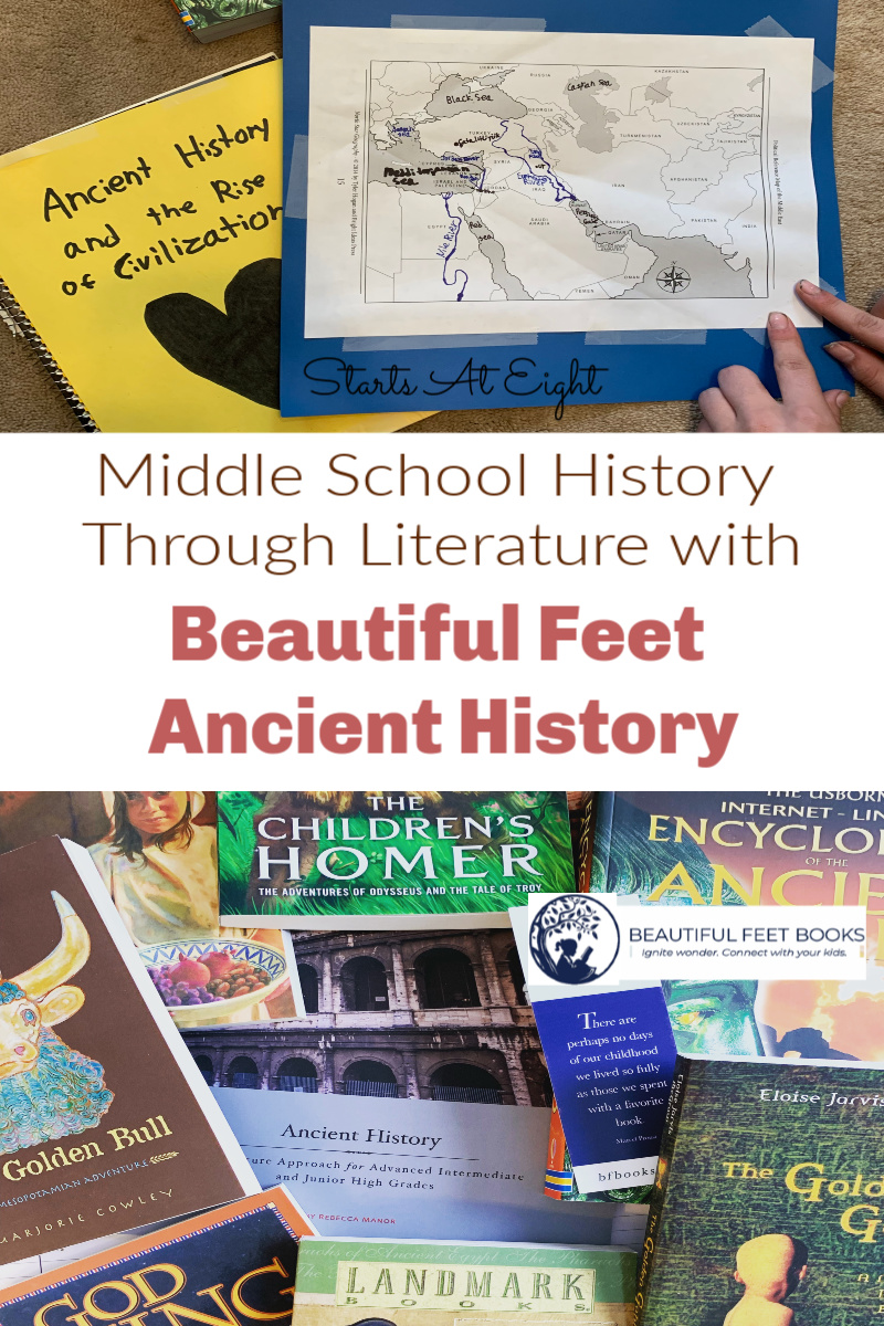Middle School History Through Literature - A Beautiful Feet Ancient History Review from Starts At Eight. Beautiful Feet Literature guides offer an easy way for you to use great literature in your homeschool. Buy the guide and required literature and go! Check out this review for all the details.
