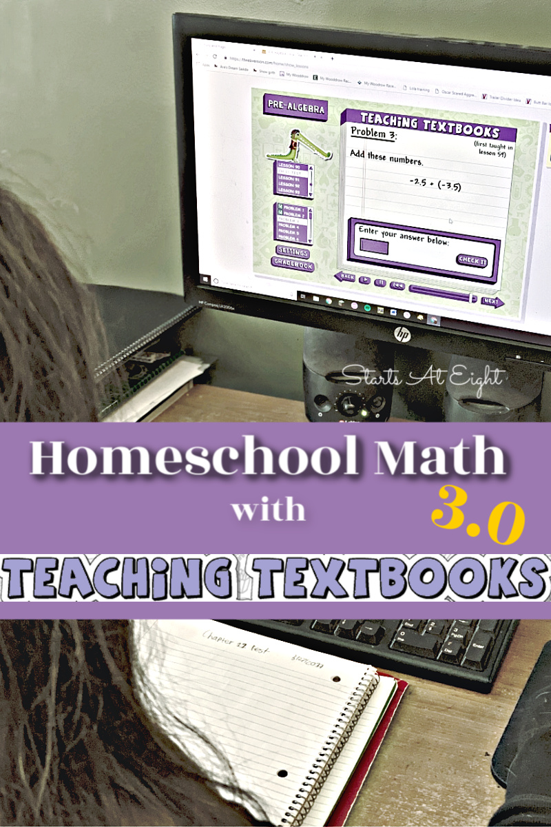 Homeschool Math with Teaching Textbooks 3.0 is math made easy. It's online, interactive, made to be done independently, auto-graded, and so much more! A Review from Starts At Eight