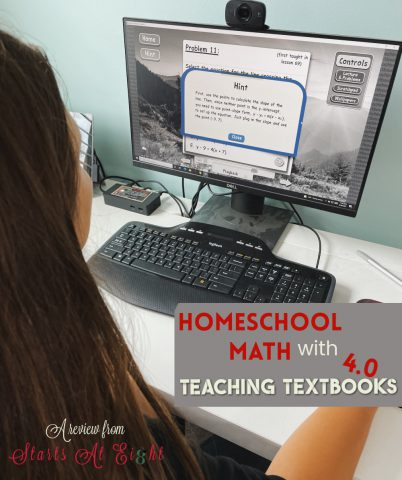 Homeschool Math with Teaching Textbooks 4.0 is math made easy. Online, interactive, independent, auto-graded, and so much more! A review from Starts At Eight.