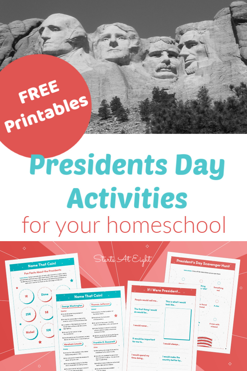 FREE Presidents Day Activities for your Homeschool from Starts At Eight