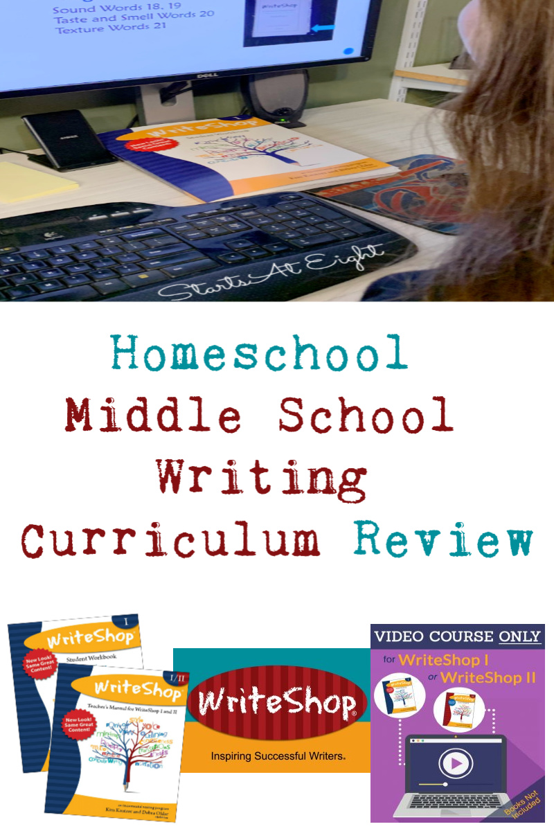 Homeschool Middle School Writing Curriculum Review from Starts At Eight - WriteShop's homeschool middle school writing curriculum is a comprehensive writing program that walk both student and parent through the writing process.