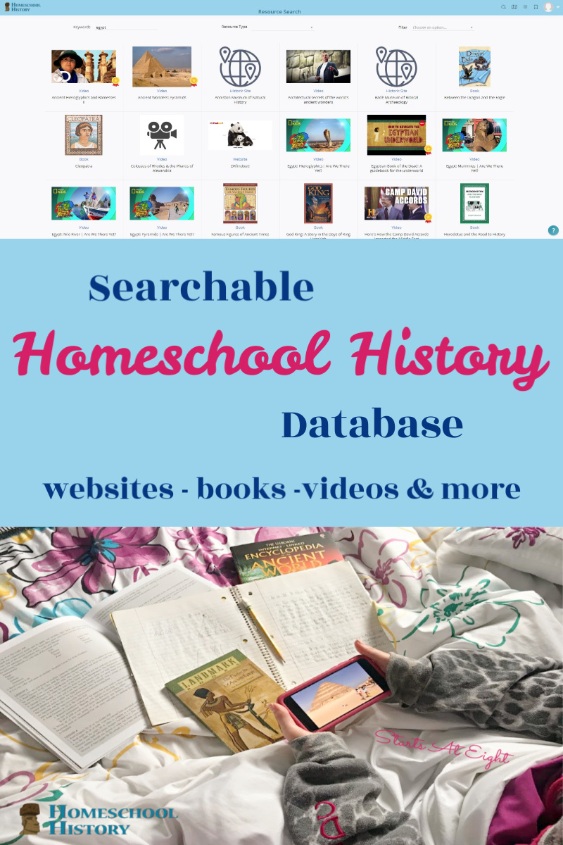 Searchable Homeschool History Database from Starts At Eight