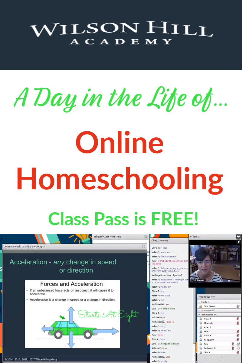 A Day in the Life of Online Homeschooling with Wilson Hill Academy is an inside look into Wilson Hill Academy's online classes. View a myriad of full class recordings to see what it's really like. NO Credit Card! It's FREE!