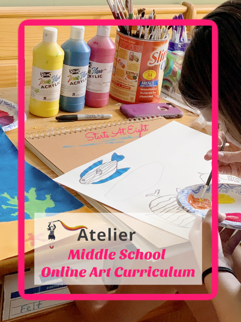 Middle School Online Art Curriculum from Atelier Homeschool Art by Arts Attack offers video-based art instruction for homeschoolers. A review from Starts At Eight