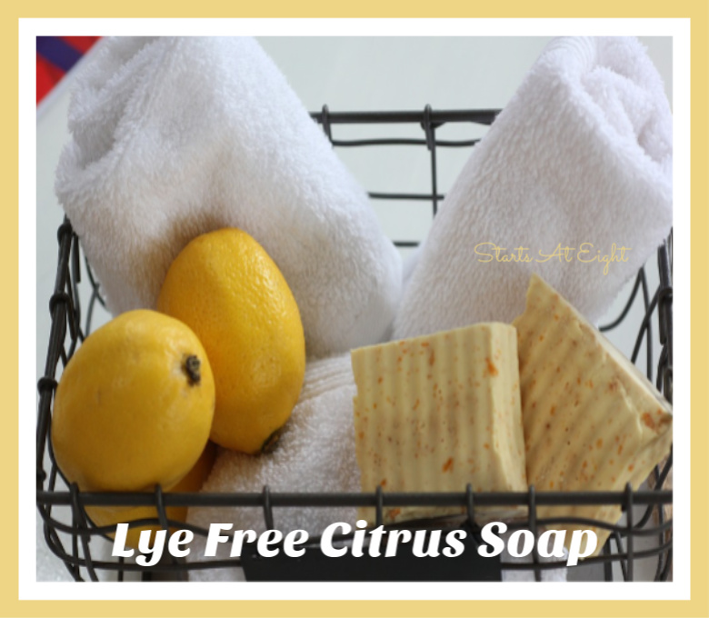 DIY Lye Free Citrus Soap Tutorial from Starts At Eight