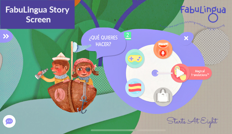 FabuLingua is a Spanish Language App that teaches kids Spanish via fun, interactive stories. Read along, play games, earn stickers, record yourself, & more! A Review from Starts At Eight