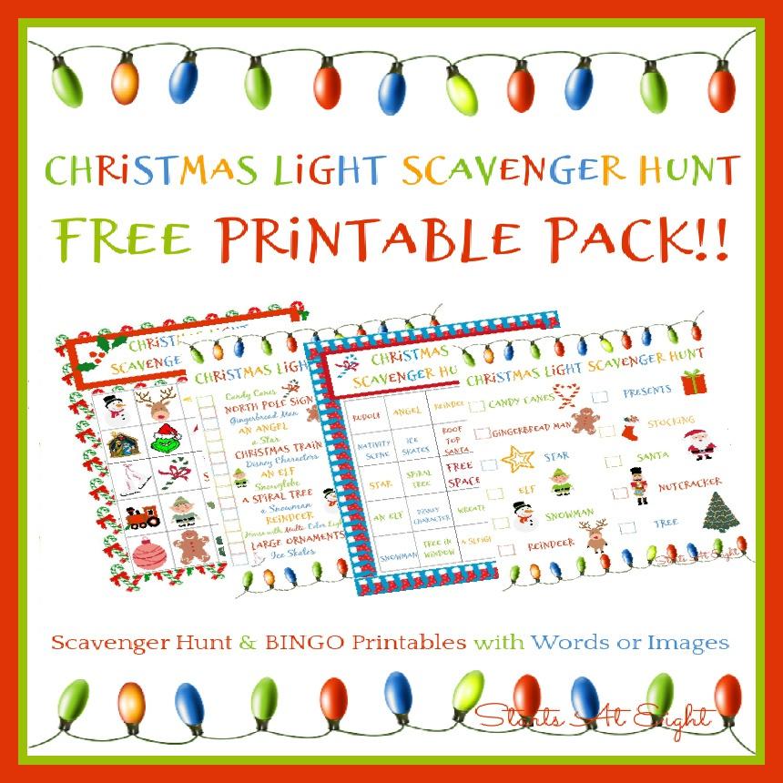 Christmas Light Scavenger Hunt Eye Spy Printable