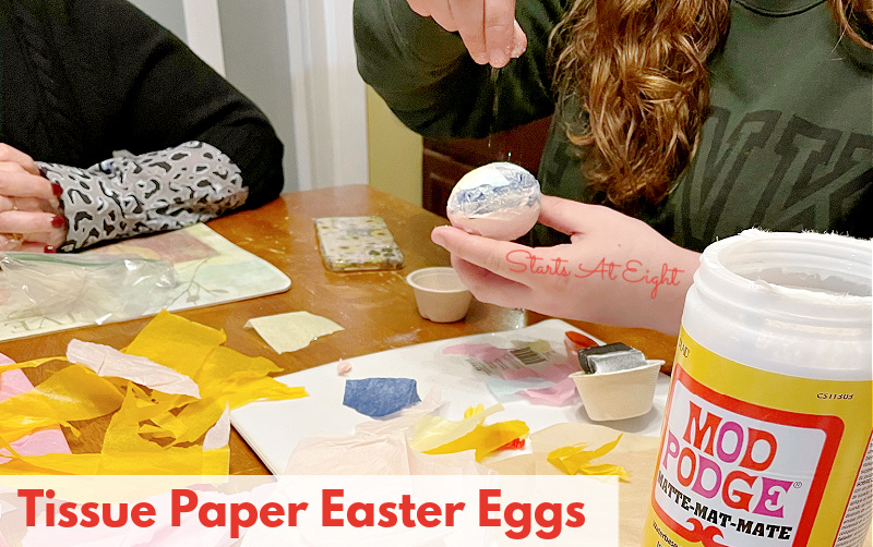 This Tissue Paper Easter Egg Craft is a perfect activity for teens. With just a few supplies you can make decorative and glittery eggs!