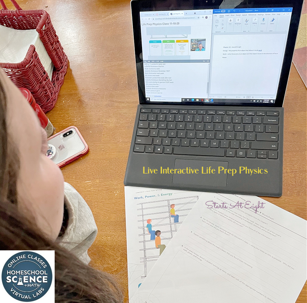 Homeschool Science Class Online with College Prep Science's live science classes for middle and high school. Life Prep Physics is perfect for your non-science kids! A Review from Starts At Eight