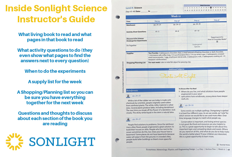 Sonlight Science Discover & Do is a homeschool science curriculum that uses literature along with hands-on experiments and worksheets to help engage kids in science topics.