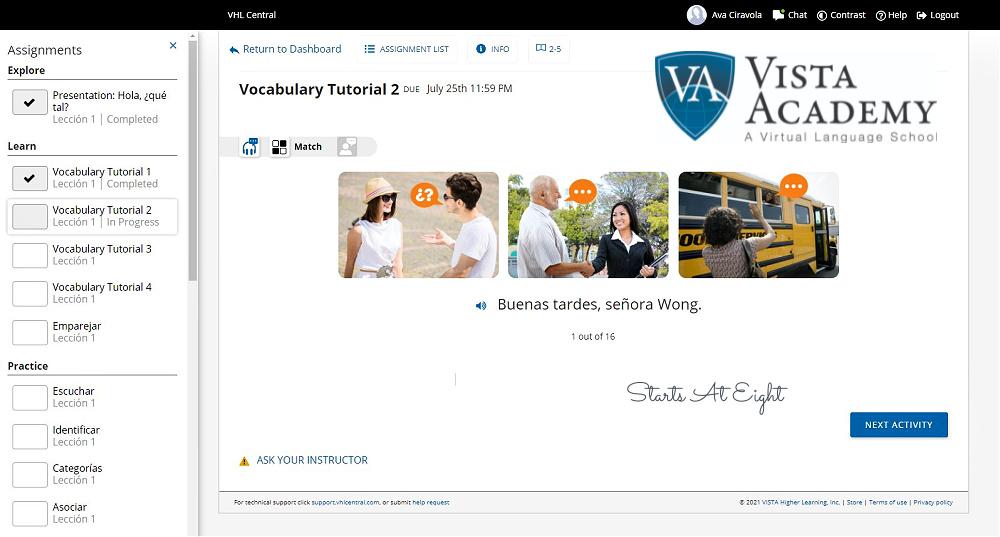 Vista Academy Spanish Vocabulary/Phrase Matching Activity