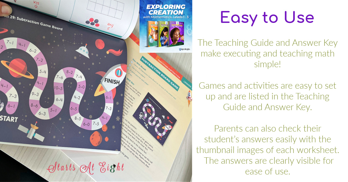 Apologia Elementary Homeschool Math Curriculum for grades 1-6 is designed to build a strong foundation of familiarity with numbers as children learn how to manipulate numbers with addition, subtraction, multiplication, and division. A review from Starts At Eight