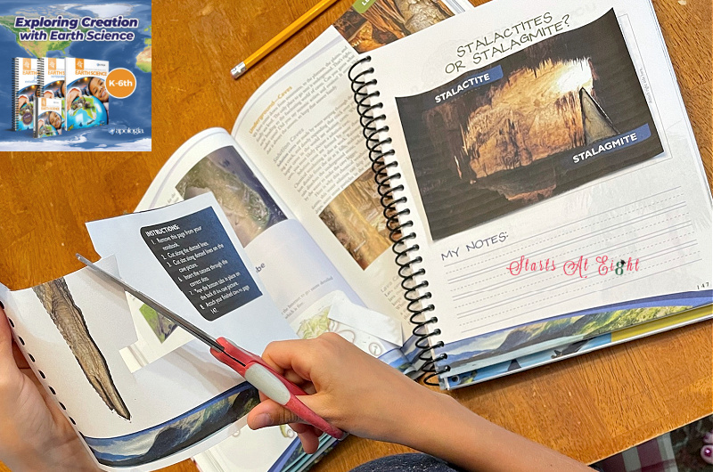Apologia Exploring Creation with Earth Science is a Charlotte Mason based homeschool science curriculum for kids in grades K-6. With suggested schedules, lots of hands-on activities and accompanying notebooks, its fun and easy to use! A review from Starts At Eight.