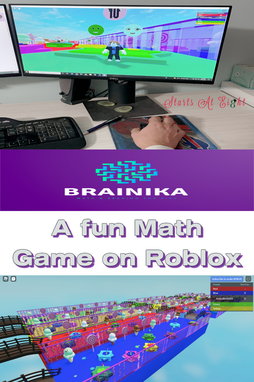 Check out this fun math game on Roblox by BRAINIKA! A fun way for kids in grades K-2 to practice their math skills! Turn their game time into learning time! A review from Starts At Eight.