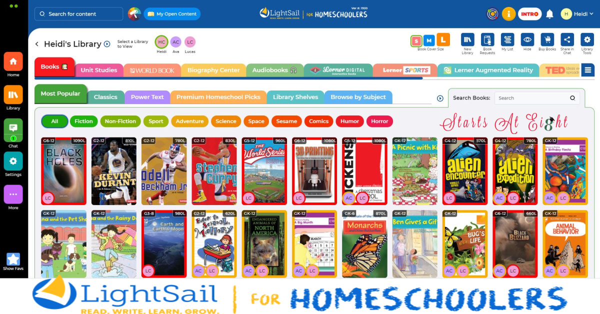 Lightsail for Homeschoolers is an online language arts program for preK-12 that advances skills in reading, writing, vocabulary and fluency.