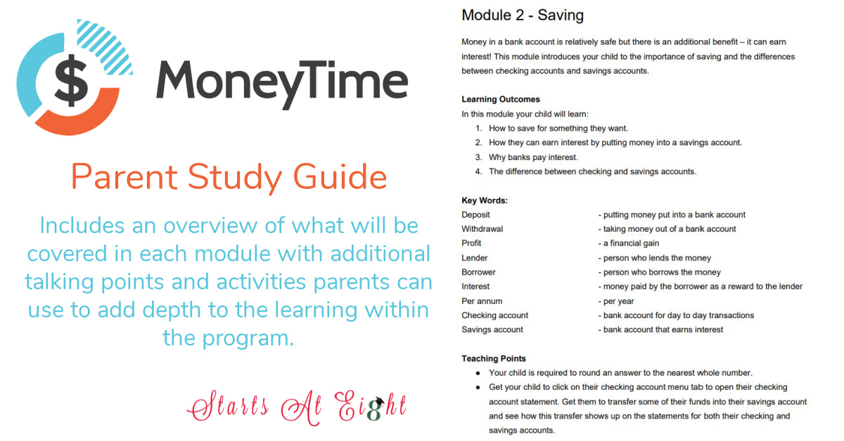Teach Kids About Money with the MoneyTime, the online gamified Financial Literacy Homeschool Curriculum for kids ages 10-14.