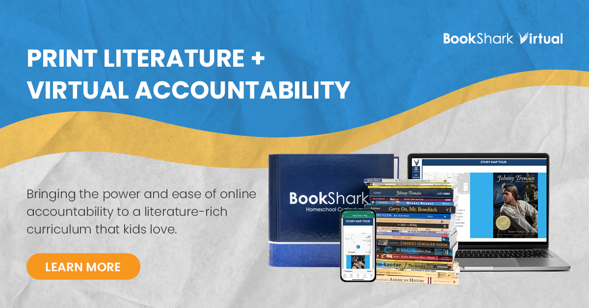 BookShark Virtual Online Homeschool Curriculum brings the power and ease of online accountability to a literature-rich curriculum! Online lesson plans, automated grading, printable worksheets, assessments and more! A review from Starts At Eight.